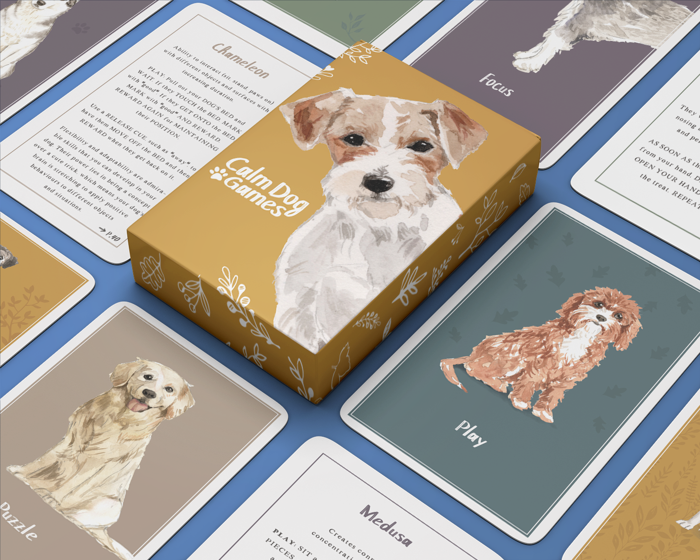Calm dog games, brain training for dogs, brain games for dogs, games cards for dogs, calm dog games cards
