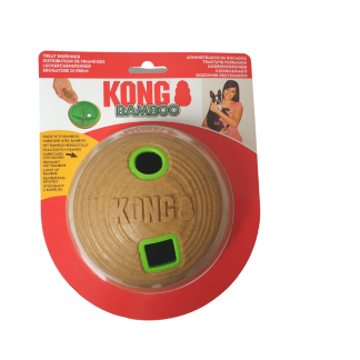 Kong bamboo feeder ball, slow feeder, interactive dog toy, dog slow feeder, treat dispensing dog toy