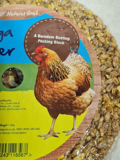 Pecking blocks for chickens, chicken enrichment ideas, enrichment for chickens, mega pecker, chicken pecking blocks