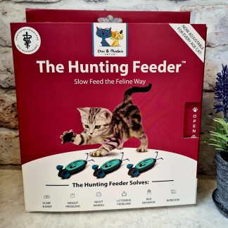 Doc and Phoebe's Hunting Feeder, cat enrichment, cat puzzle feeder, cat slow feeder, cat feeding toy, cat enrichment ideas, The Hunting Feeder